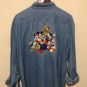 Disney Vintage Denim Button Down Large Patch